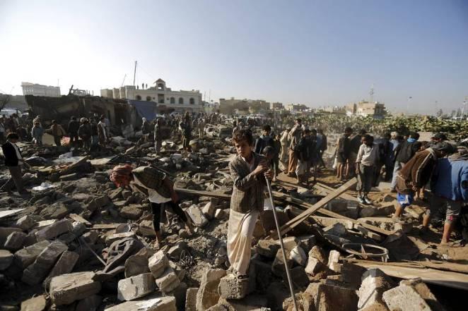 Boligområde nær San'a i Jemen